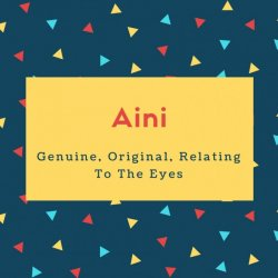 Aini Name Meaning Genuine, Original, Relating To The Eyes