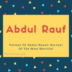 Abdul rauf name meaning Variant Of Abdul-Raouf- Servant Of The Most Merciful.