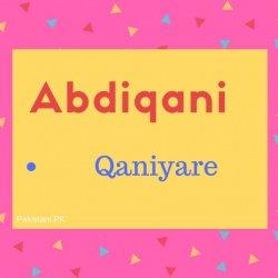 Abdiqani Name Meaning Qaniyare.