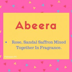 Abeera Nmae Meaning Rose, Sandal Saffron Mixed Together In Fragrance..