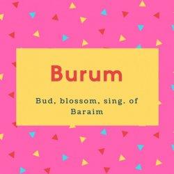 Burum Name Meaning Bud, blossom, sing. of Baraim