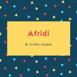 Afridi Name Meaning A tribe name