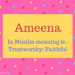 Ameena Name Meaning In Muslim meaning is - Trustworthy; Faithful