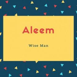 Aleem Name Meaning Wise Man