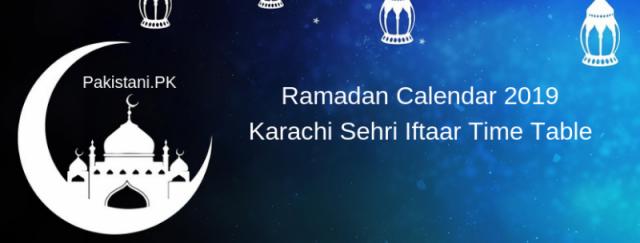 Karachi Ramadan Calendar 2019