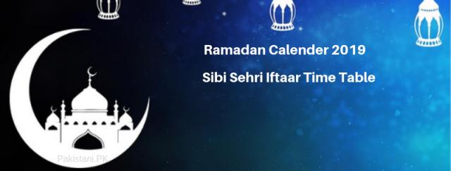 Sibi Ramadan Calendar 2019