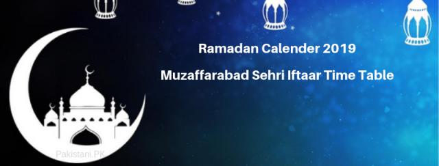 Muzaffarabad Ramadan Calendar 2019