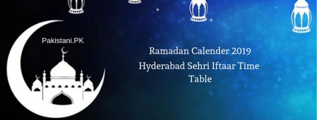 Hyderabad Ramadan Calendar 2019