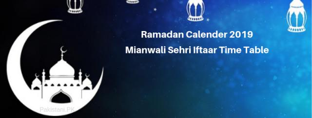 Mianwali Ramadan Calendar 2019