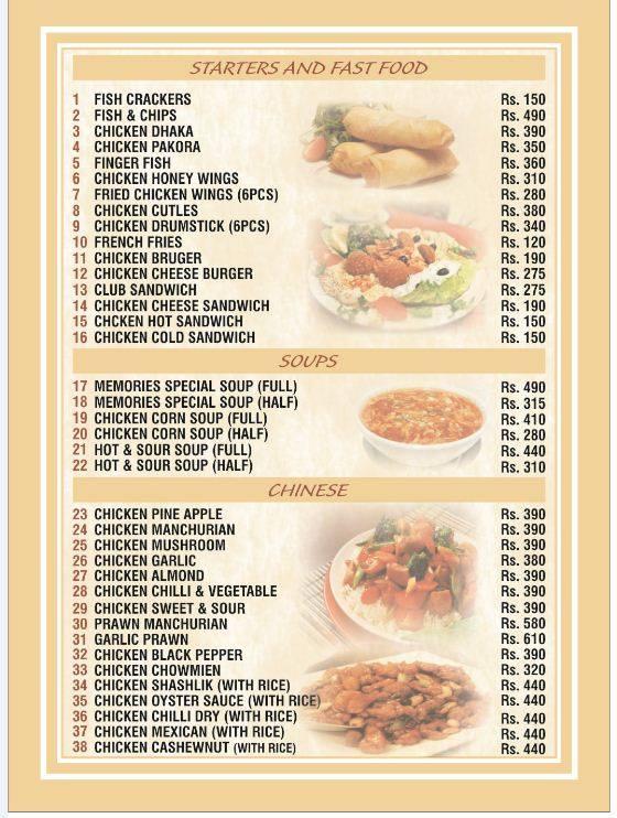 Memories, Johar Town Fast Food, Soups, Chinese Menu