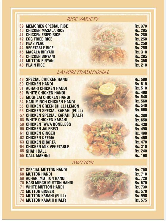 Memories, Johar Town Rice Variety, Lahori Traditional, Mutton Menu