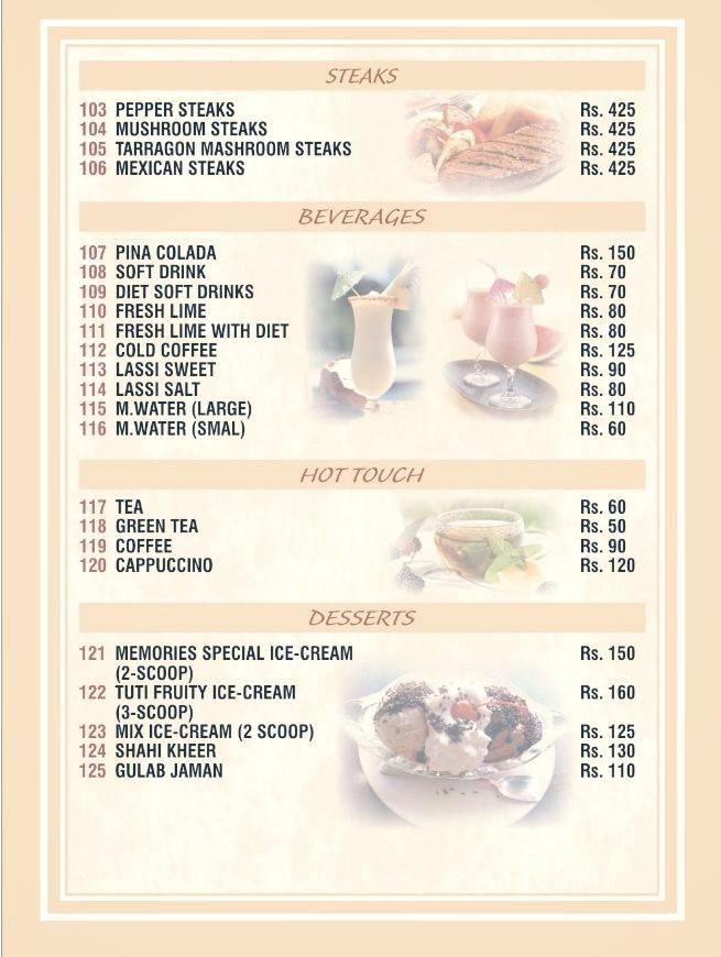 Memories, Johar Town Steaks, Beverages, Hot Touch, Desserts Menu