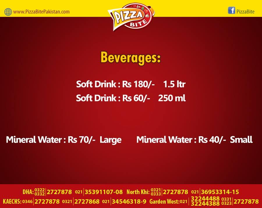 Pizza Bite Karachi Beverages Menu