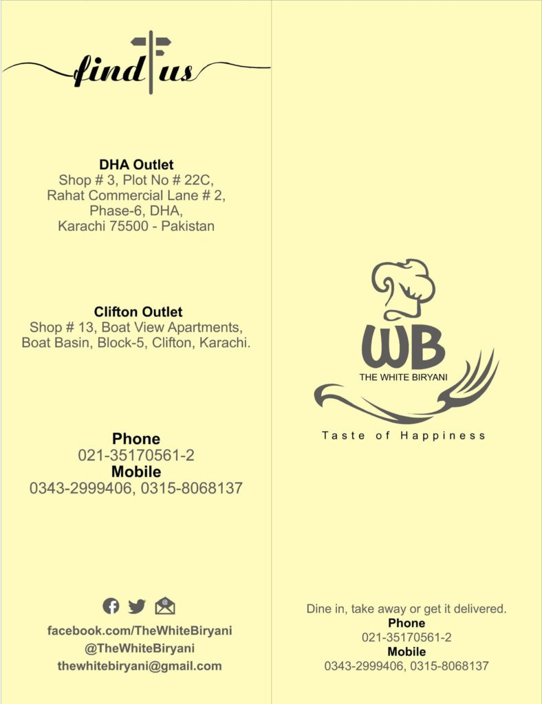 The White Biryani Restaurant In Dha Phase 6 Karachi Menu