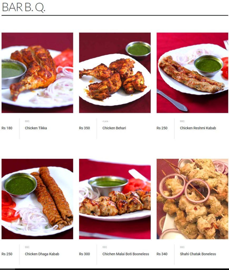 Malik's Restaurant Bar B.Q Menu