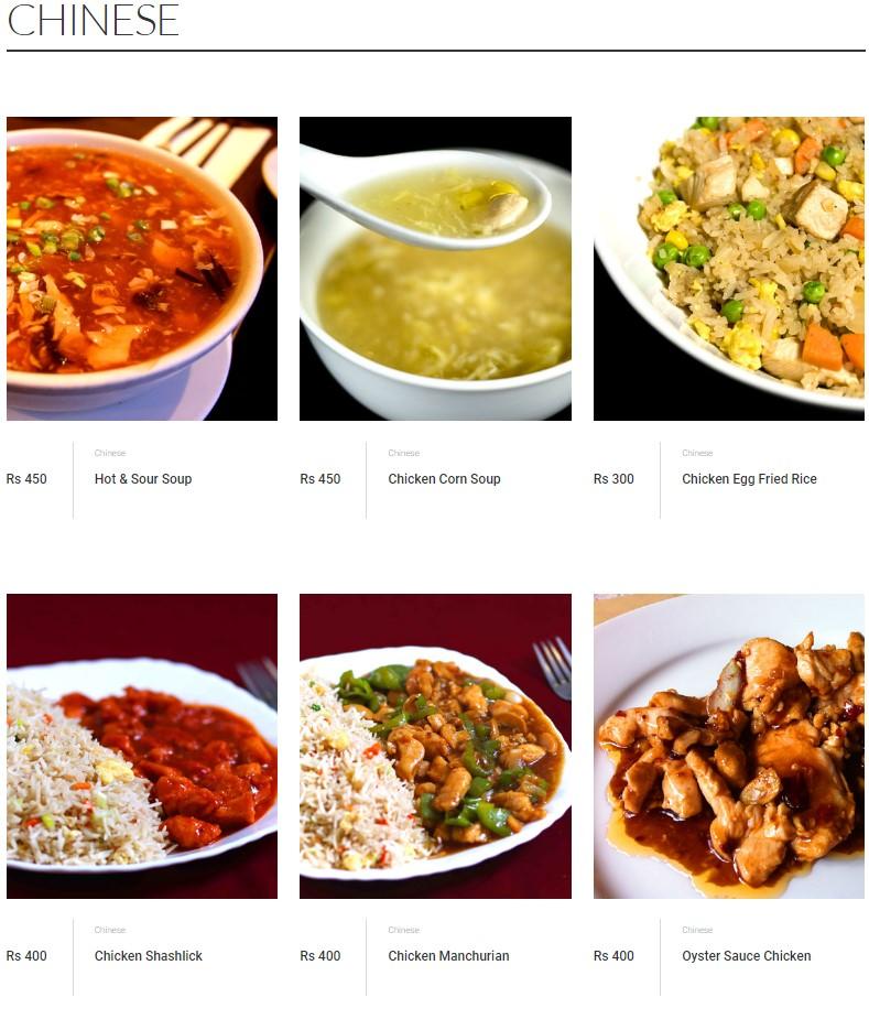 Malik's Restaurant Chinese Menu