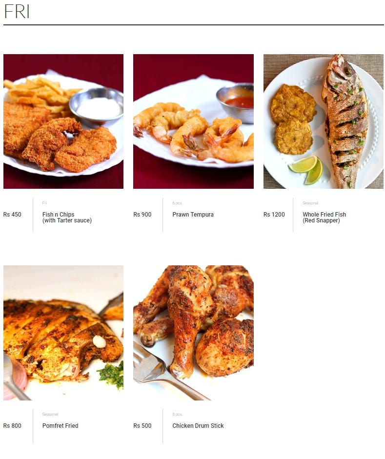 Malik's Restaurant Fri Menu