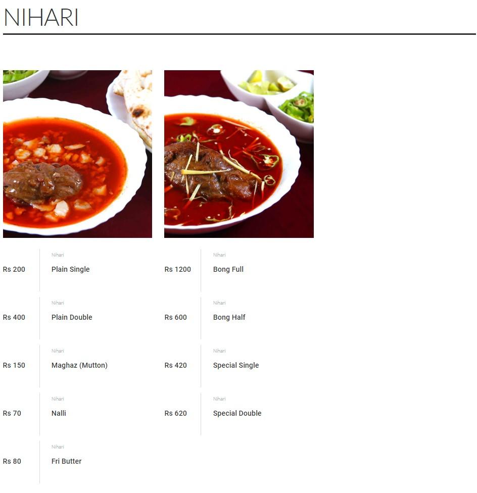 Malik's Restaurant Nehari Menu